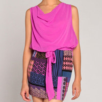 Quilted Pattern Chiffon Dress in Violet