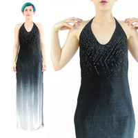 90s Glitter Velvet Evening Gown Grey Ombre Dress Strappy Velvet Halter Dress Sexy Prom Dress 90s Velvet Maxi Dress Party Gown (S/M)