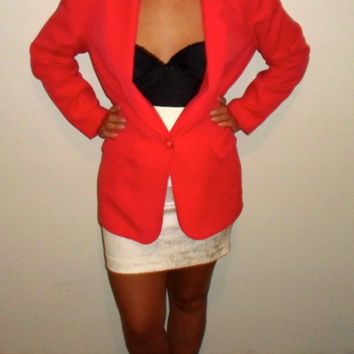 90s Coral Blazer, 1990s bright neon hot pink blazer/ suit jacket