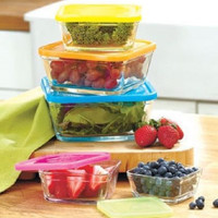 Bowl Set Glass Square Nesting Stackable 10 Pc Lids Storage Food Containers NEW