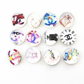LMFUS4 New Arrive 18mm Mix Glass Tow C Perfume Ginger Snap Buttons Charms Fit Snap Button Bracelet&Bangles DIY Jewelry