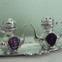 Vintage Salt and Pepper Shaker And Tray, Decorative Set, Norway, Scandinavian, Silver Plated, Table Decor