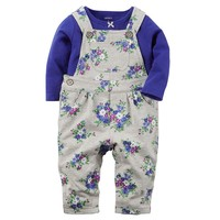 Carter's Tee & Floral French Terry Overalls Set - Baby Girl, Size: