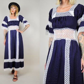 vtg 70's SHEER Mexican Oaxacan Cotton CROCHET DRESS Boho Hippie Festival Maxi Wedding Folk xs