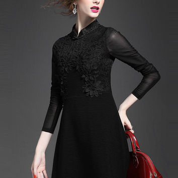 Black Long Sleeve Embroidered A-Line Dress