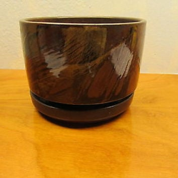 POTTERY CRAFT FLOWER POT WITH RING WATER BASE MADE IN THE USA # P612