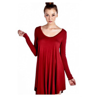 Curvy Long Sleeve Flared Tunic Dress, Burgundy