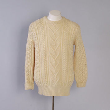 Vintage 60s PENDLETON SWEATER / 1960s Cable Knit Aran Fisherman Ivory Wool Pullover M - L
