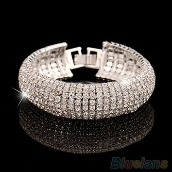 Women's Roman Golden Silver Rhinestone Wedding Party Mesh Cuff Bangle Bracelet 1RSM