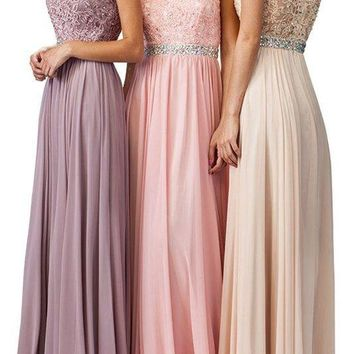 Floor length inexpensive Bridesmaid dress dq9400