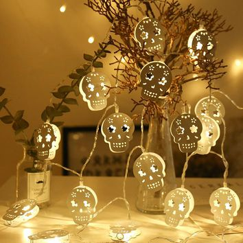 3M Battery Operated White Hollow Metal Skull LED String Lights