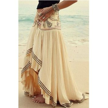 LMFUG3 Fashion Patchwork Asymmetrical Casual Skirt Women Summer Maxi Beach Skirts = 1931504772