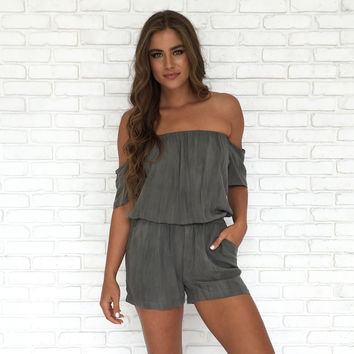 Wish You Well Romper In Grey