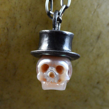 READY TO SHIP - Carved Pink Pearl Skull Wearing Sterling Silver Top Hat - Skull Pearl Jewelry - Unique Gift - Pearl Necklace