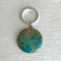 Heart Tree Locket Keychain, family life trees colorful unisex birthday stocking Christmas gift teacher gifts for her wife
