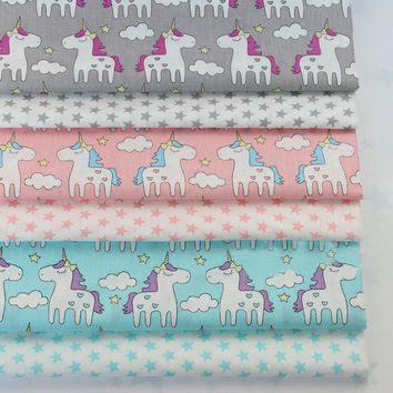 Pretty Pink Grey Blue Cartoon Unicorn & Fivestar Printed 100% Cotton Fabric For DIY Sewing Quilting Baby Bedding Tilda Cloth