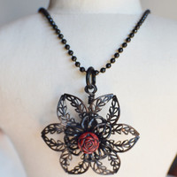 CYBER MONDAY Antiqued Black Brass Flower Necklace