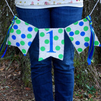 First Birthday Banner - Baby Boy First Birthday Banner - First Birthday High Chair Banner - Boy Birthday Decorations-Blue and Green Birthday