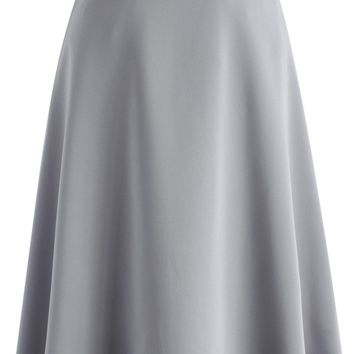 Savvy Basic Belted A-line Skirt in Grey