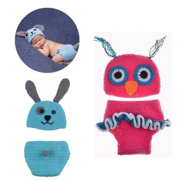 0-6 Month Cute Shower Newborn Handmade Coffee Beanie Knitting Infant Suit Monkey Clothes Photography Custume Diaper Cover