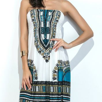 Casual Strapless Smocked Bodice Shift Dress In Tribal Printed
