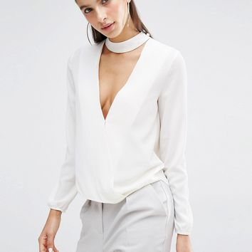 Parallel Lines V Neck Blouse With Choker Neck