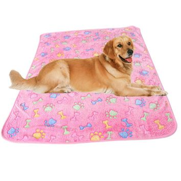Warm Bed Paw Coral Fleece Cover