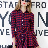 Red Printed Bowknot Ruffled Dress