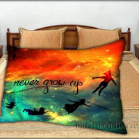 """Peter Pan Quote Nebula - 20 """" x 30 """" inch,Pillow Case and Pillow Cover."""