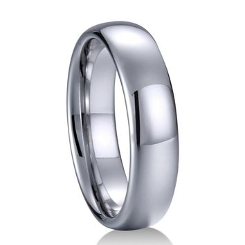 Engrave It White Tungsten Carbide Wedding Band