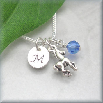 Pony Initial Birthstone Necklace Sterling Silver Horse Charm Jewelry Personalized Hand Stamped (SN620, 621)