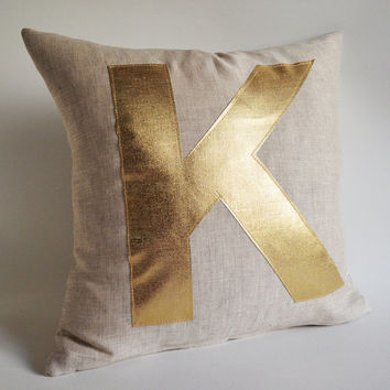 Sukan / GOLD Monogram Pillow - alphabet pillow - gold pillow CUSTOM PILLOW - K 16x16 18x18