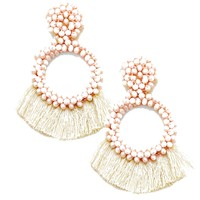 Shell Pink Large Beaded Tassel and Hoop Earring