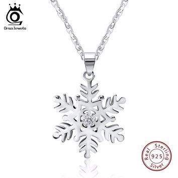 ORSA JEWELS 2017 Genuine Silver Snowflake Pendant Necklaces for Men/Women 925 Sterling Silver Necklace Jewelry Lover's Gift SN07