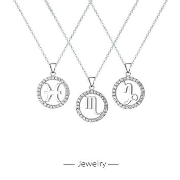 S925 Pure Silver Necklace Twelve Constellation Love Fashion Women's Clavicle Chain  171204