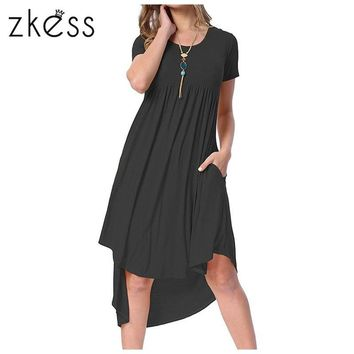 Zkess Women summer High Low Pleated dress 2018 new arrival solid color Casual O-neck Short Sleeve Swing Dresses vestido LC220045