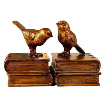 FASHION Vintage Bookends Creative Bookshelf Book by American Bird Home Furnishing Decorations