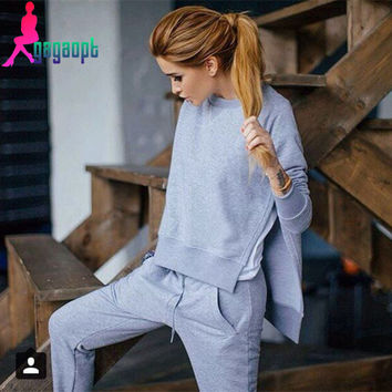 Gagaopt 2015 Cotton 2 Two Piece Set Tracksuit Women Asymmetrical Hoodies Set Side Split Sweat Suits Women Sweatshirts Outfit 070