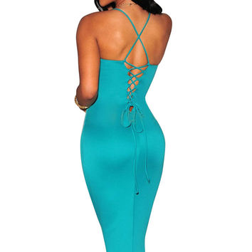 Cyan-Blue Plunging V Neck Halter Bodycon Mid Dress