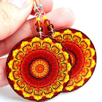 Sunny Rosette Mandala Yellow Brown Orange Round by MADEbyMADA