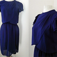 Vintage 70s 80s Dress // Navy Blue Sheer // Flowy Layers // Small