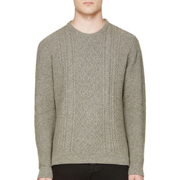 A.p.c. Grey Cable Knit Sweater
