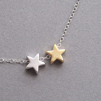 Stars necklace, tiny silver and gold stars, sterling silver chain - small dainty petite minimalist