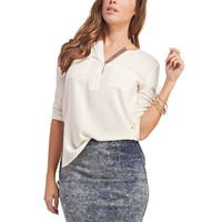 Embroidered Roll-Sleeve Henley | Wet Seal