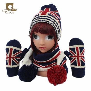 New kids children Knitted Hat Scarf  Gloves 3pcs winter set UK flag pattern for boy and girls