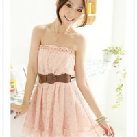 Asian Summer Fashion Lace Tube Pink Dresses Online  : Wholesaleclothing4u.com