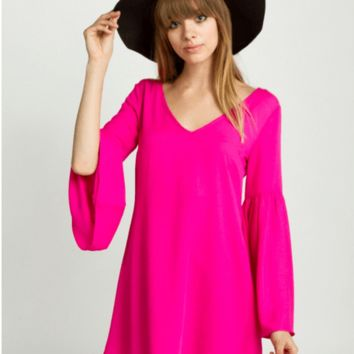 Hot Pink Bell Sleeve Dress