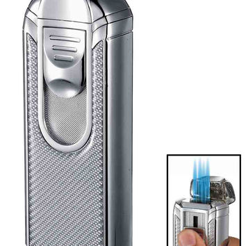 Visol Alec IV Chrome and White Carbon Fiber Quad Torch Flame Table Lighter