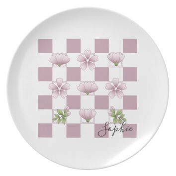 Cherry Blossom - Sakura - Pink Floral Pattern Name Dinner Plate