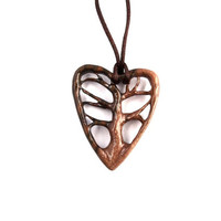 Wooden Heart Pendant, Wooden Pendant, Wooden Tree of Life Pendant Necklace, Wooden Carved Pendant, Hand Carved Tree Pendant, Wood Jewelry